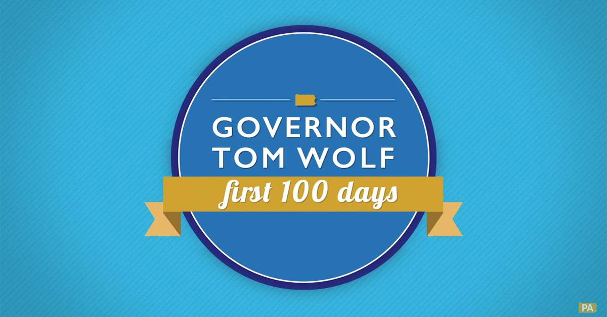 Still from Governor Wolf's first 100 days in office video