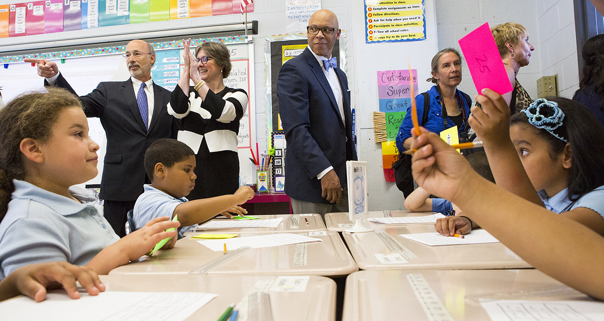 Governor Wolf and First Lady Frances Wolf visiting William H. Hunter Elementary School