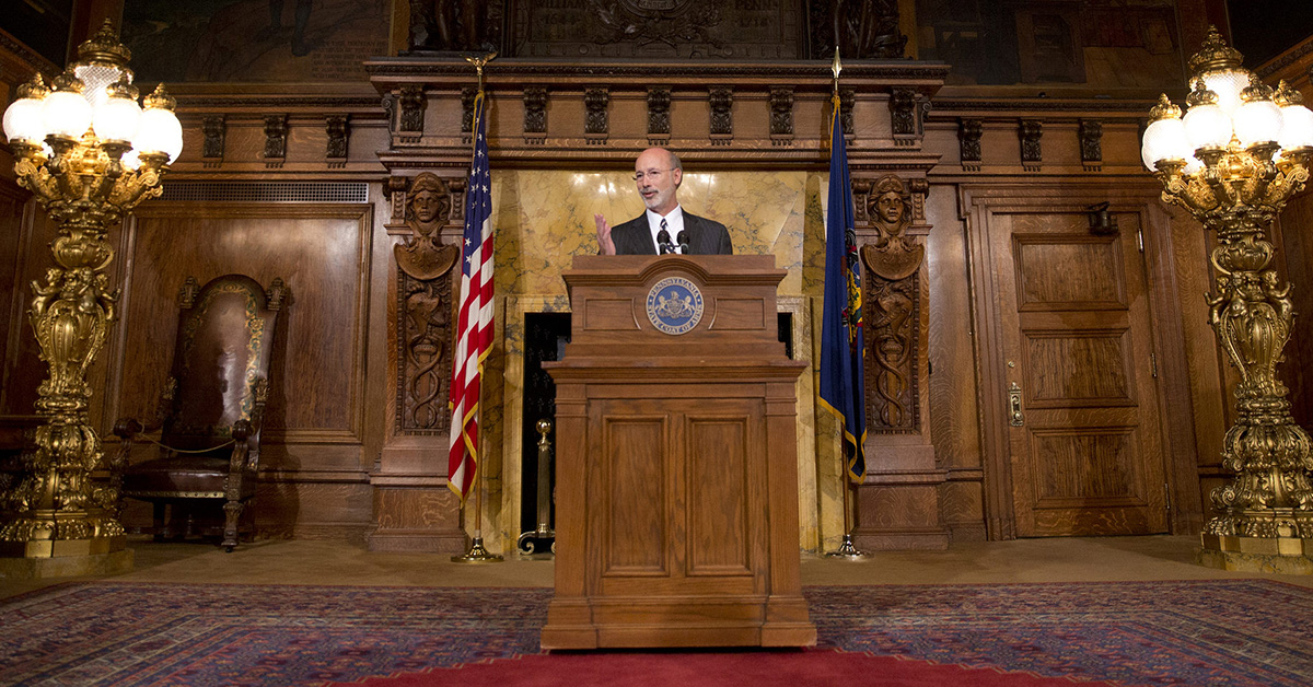 Governor Wolf holds a press conference in the Capitol
