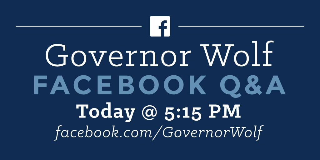 Facebook Q&A with Governor Wolf promo