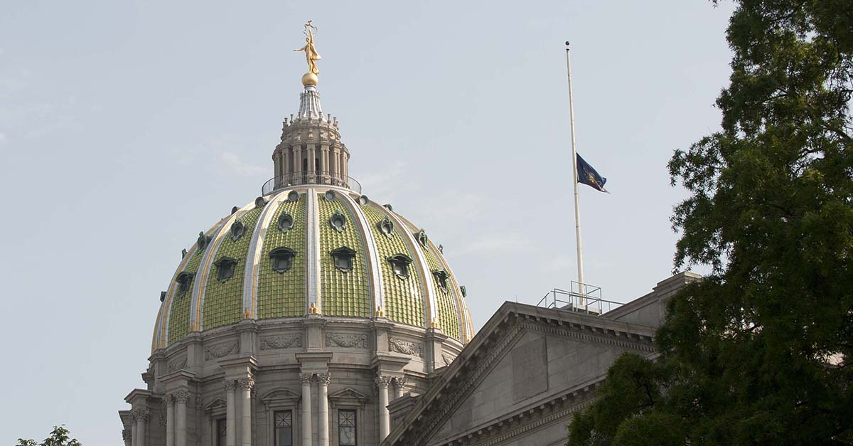 Flags at half-staff at Pennsylvania Capitol Building