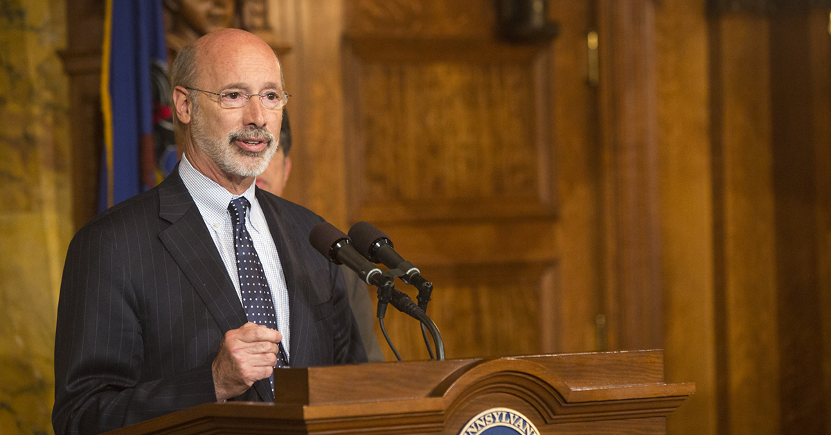Governor Wolf speaking in the Capitol