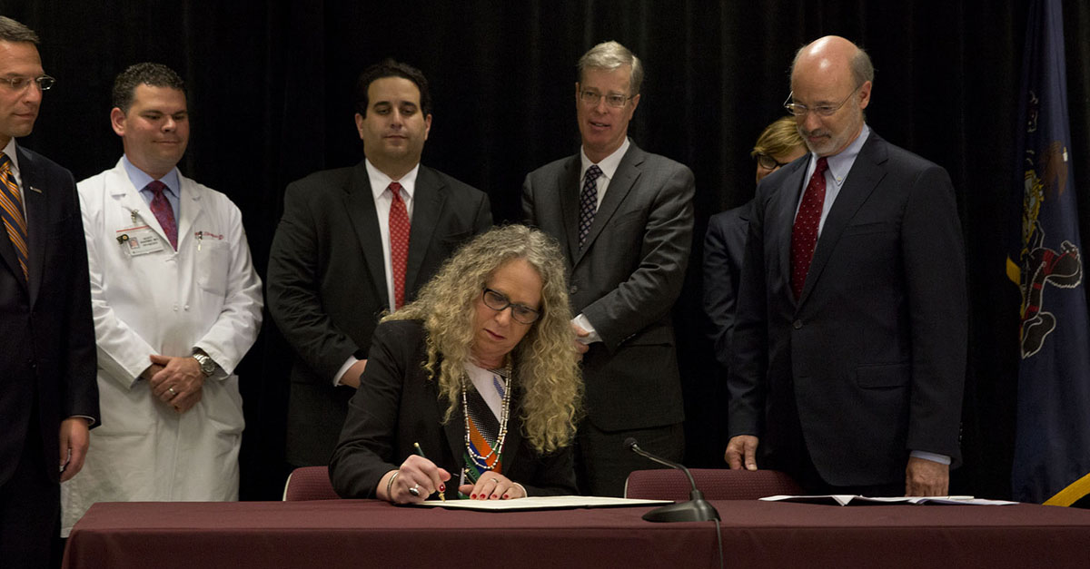 Physician General Rachel Levine signs naloxone standing order