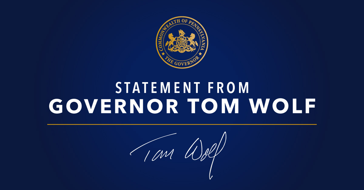 Statement from Governor Tom Wolf