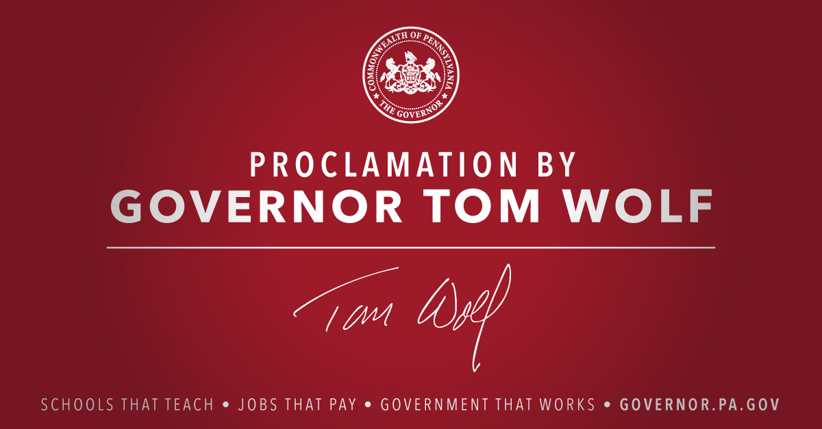 Proclamation by Governor Tom Wolf