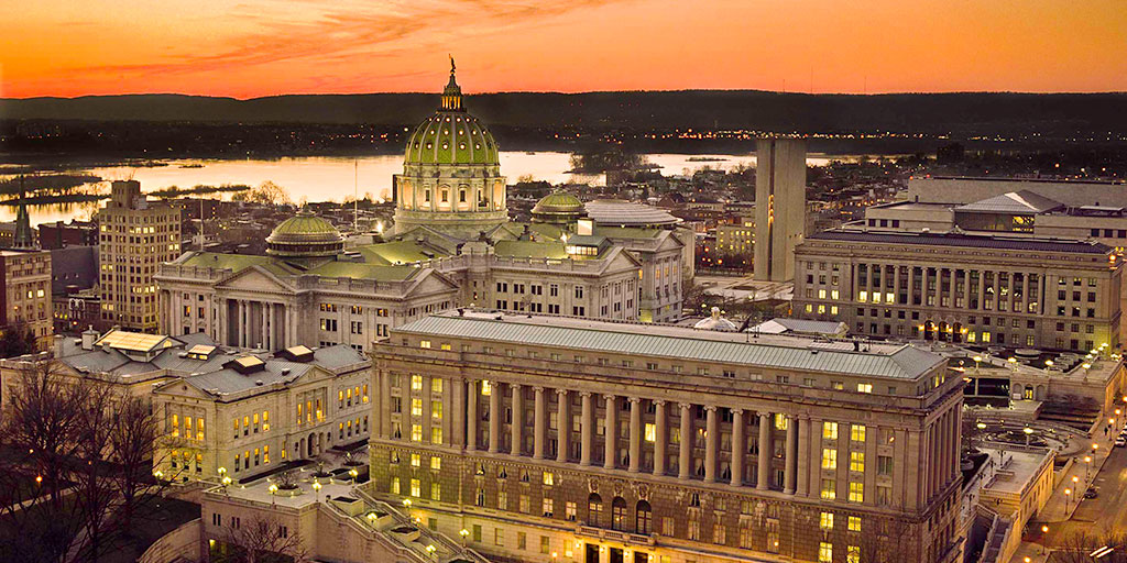 Image of the PA State Capitol Complex during sunset