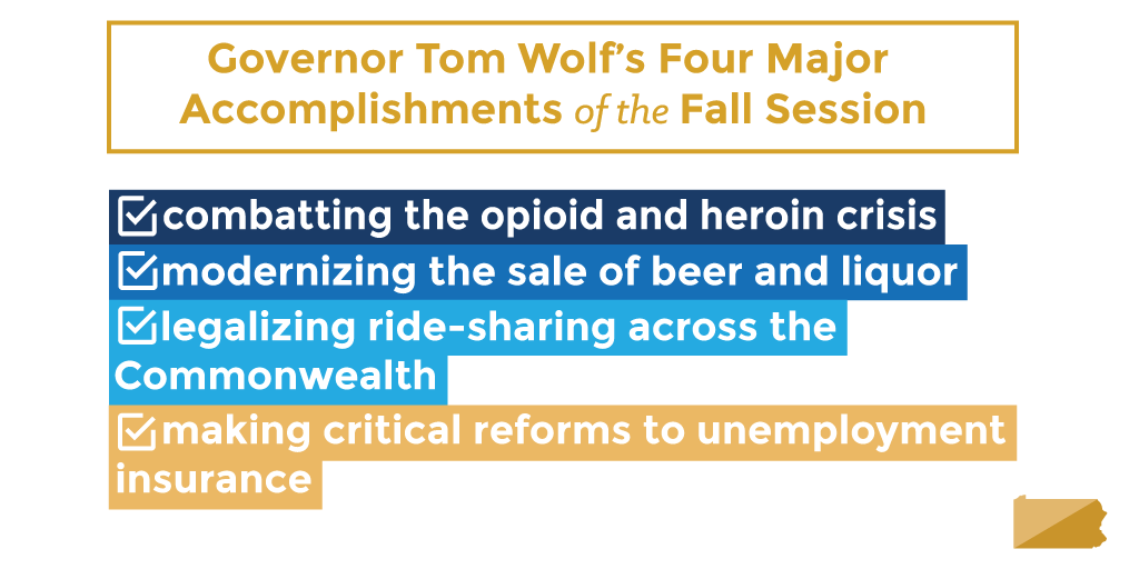 Gov. Wolf's Four Major Accomplishments of the Fall Session
