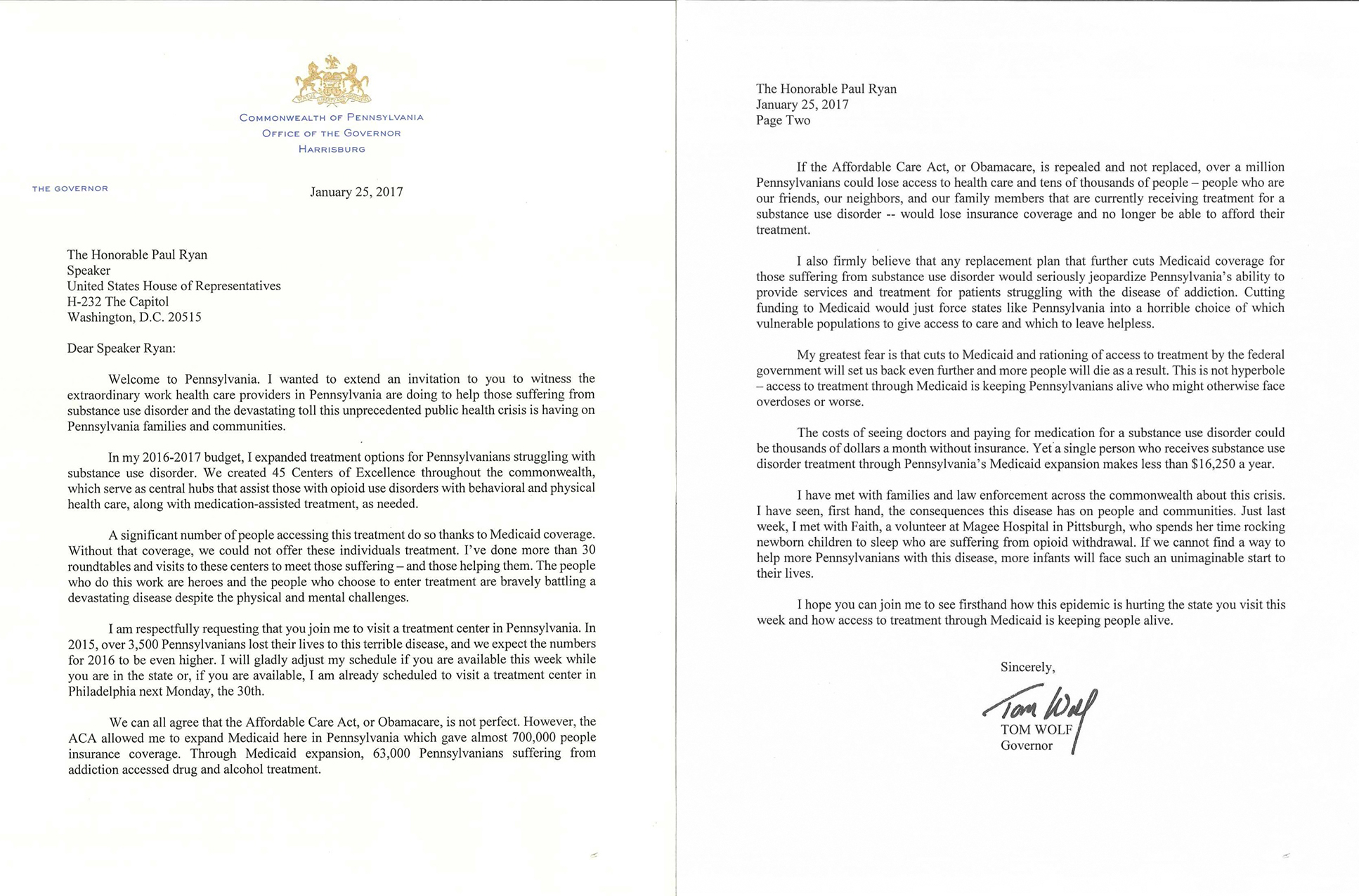 Wolf emphasizes impact of aca repeal on opioid epidemic image of the letter governor wolf sent to speaker ryan xflitez Gallery