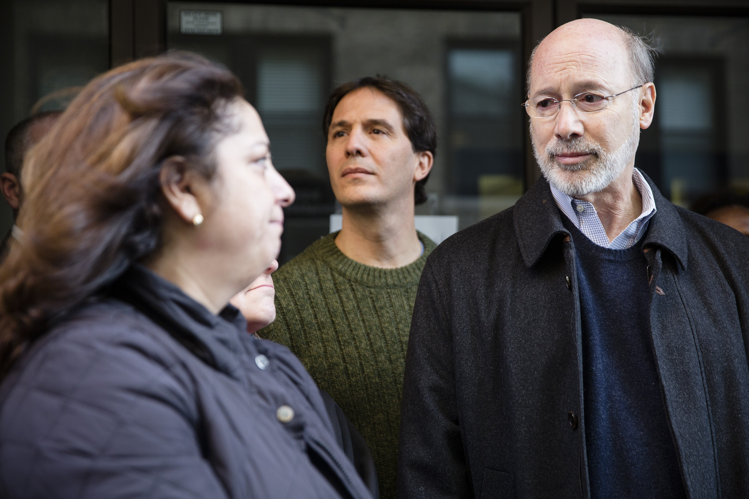 Photo of Governor Wolf and Mrs. Assali, family member of legal immigrants detained and sent back
