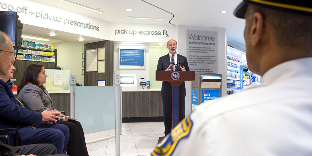 Image of Governor Wolf speaking at a pharmacy