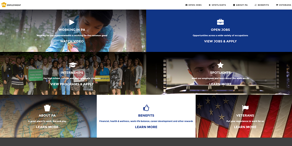 Image of new state employee website