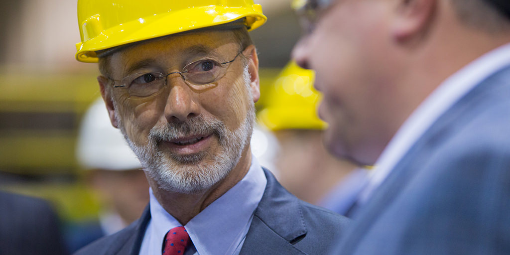 Image of Governor Wolf wearing a hard hat
