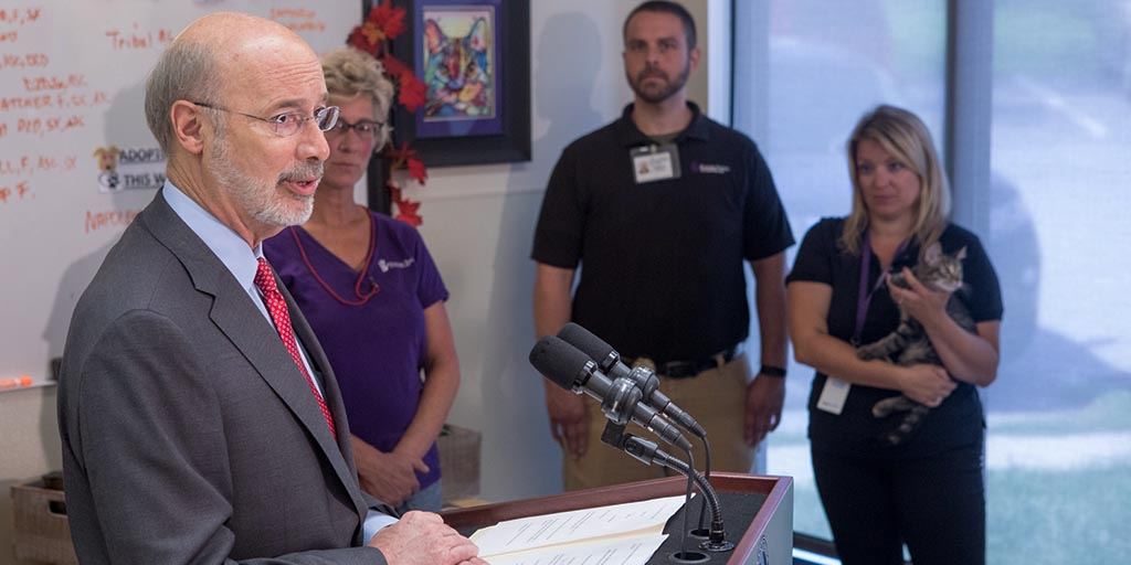 Image of Governor Wolf speaking at Humane Society of Harrisburg