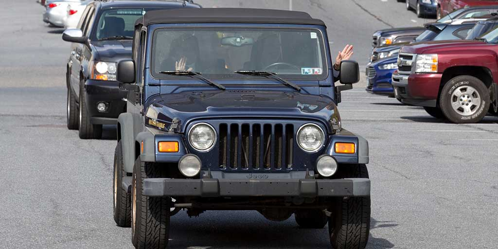 Image of Governor Wolf in his Jeep
