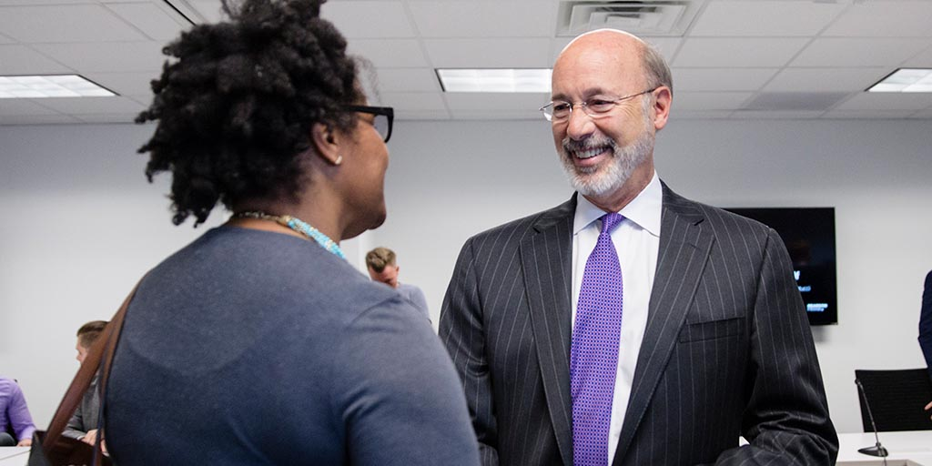 Image of Governor Wolf shaking hands with someone