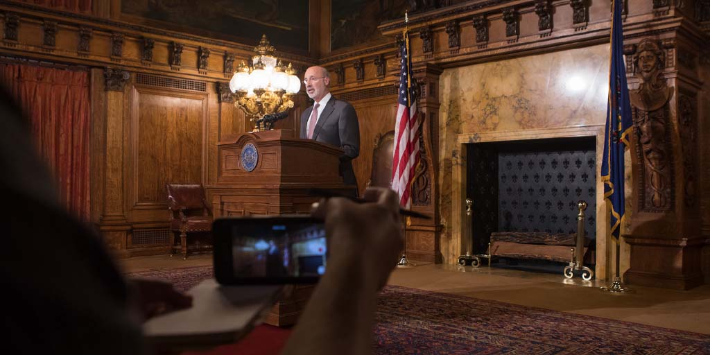 Image of Governor Wolf providing a pa budget update