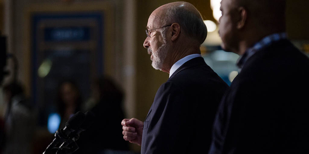 Image of Governor Wolf speaking on severance tax vote