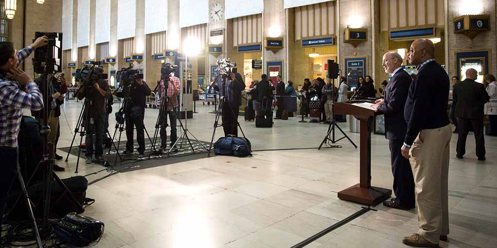 Image of Governor Wolf speaking at 30th Street Station