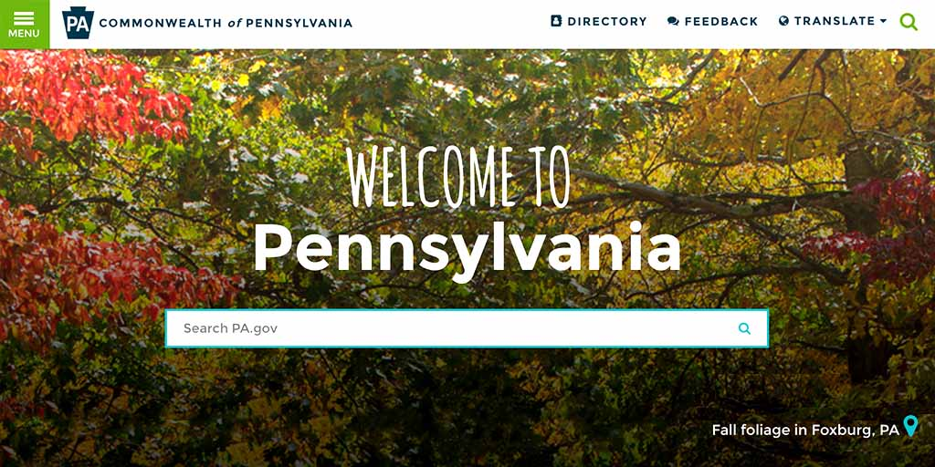 Image of PA.gov homepage