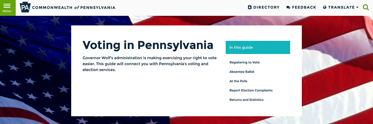 Image of Voting in Pennsylvania topic page on PA.gov