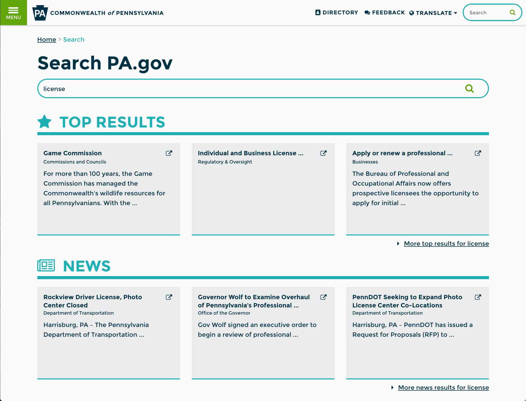 Graphic of Pa.gov featured results on site search.