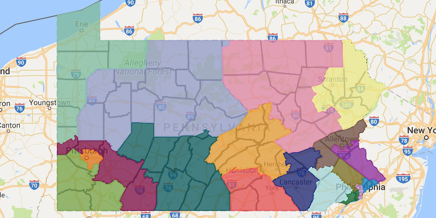 An image of the Congressional map proposal Governor Wolf has submitted to the Supreme Court of Pennsylvania.