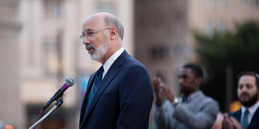 Image of Governor Tom Wolf at a vigil for victims of gun violence.