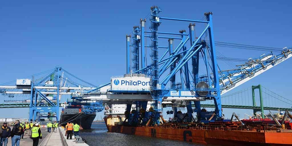Image of 32-story high, super post-Panamax cranes arriving to the Port of Philadelphia.