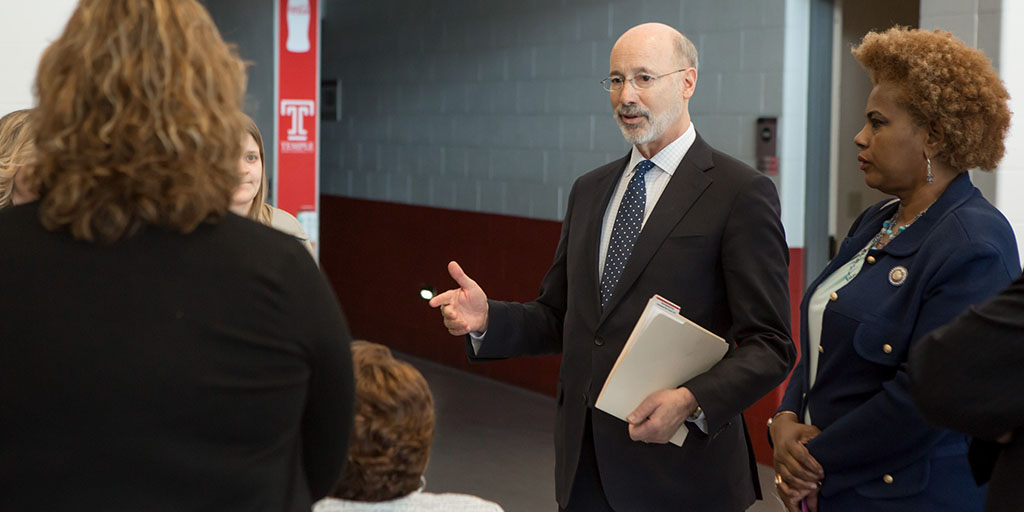 Image of Governor Tom Wolf speaking to a group of women community leaders