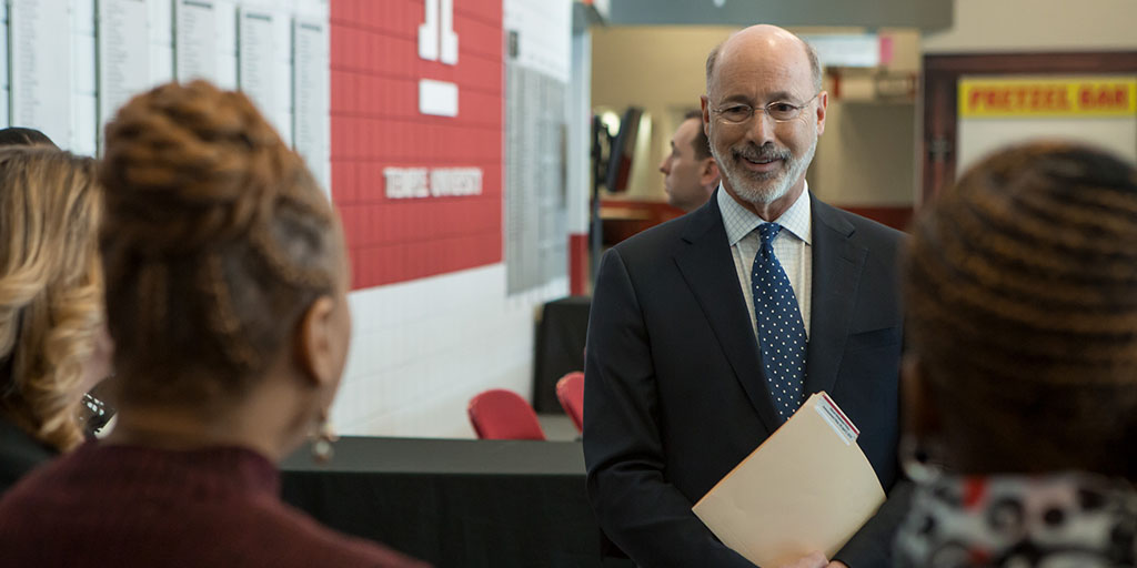 Image of Governor Tom Wolf speaking to community leaders.
