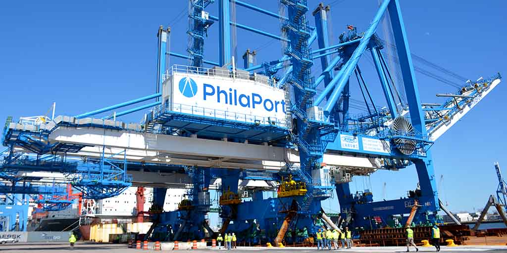 Image of post of the first two super post-Panamax cranes arriving to The Port of Philadelphia.