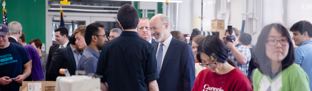 Image of Governor Tom Wolf speaking to students at Carnegie Mellon.