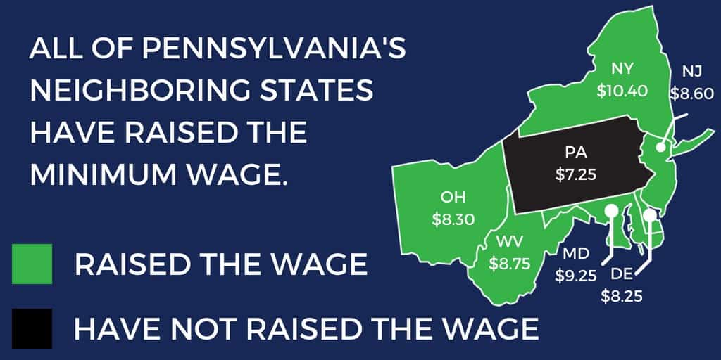 Map of minimum wage amounts for each northeastern state.