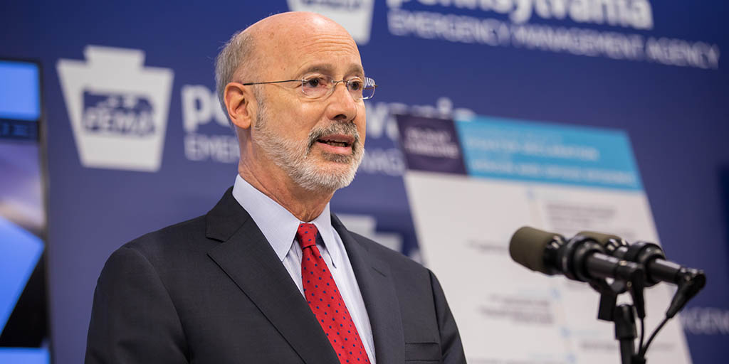 Image of Governor Tom Wolf speaking at the Opioid Disaster Declaration Command Center.