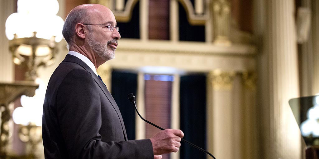 Governor Tom Wolf speaking in the House Chamber.