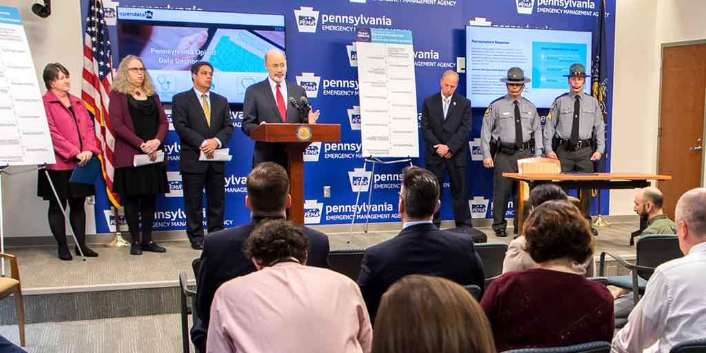 Image of Governor Tom Wolf providing remarks at the Opioid Command Center.