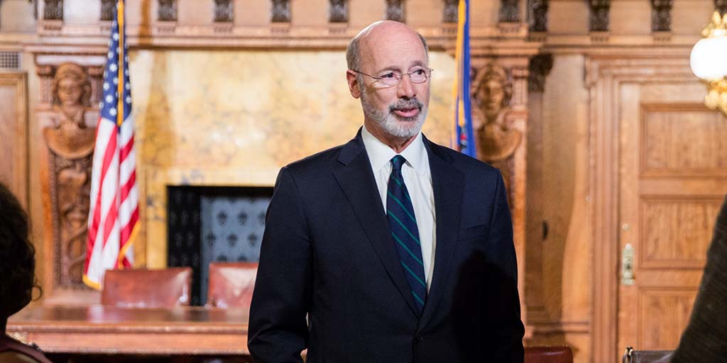 Image Governor Tom Wolf standing in the governor's reception room.