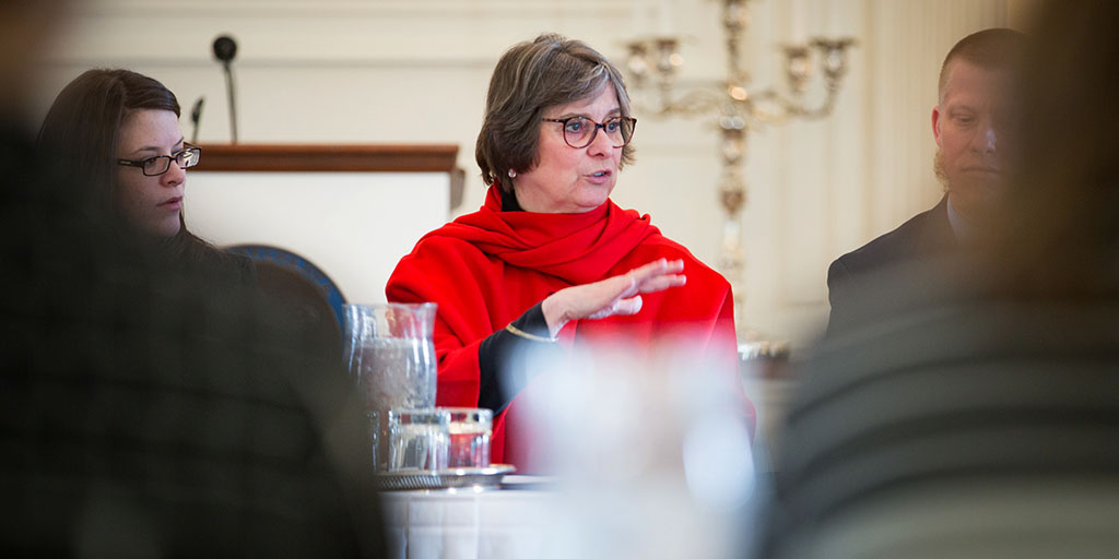 Image of First Lady Frances Wolf hosting a round-table discussion.