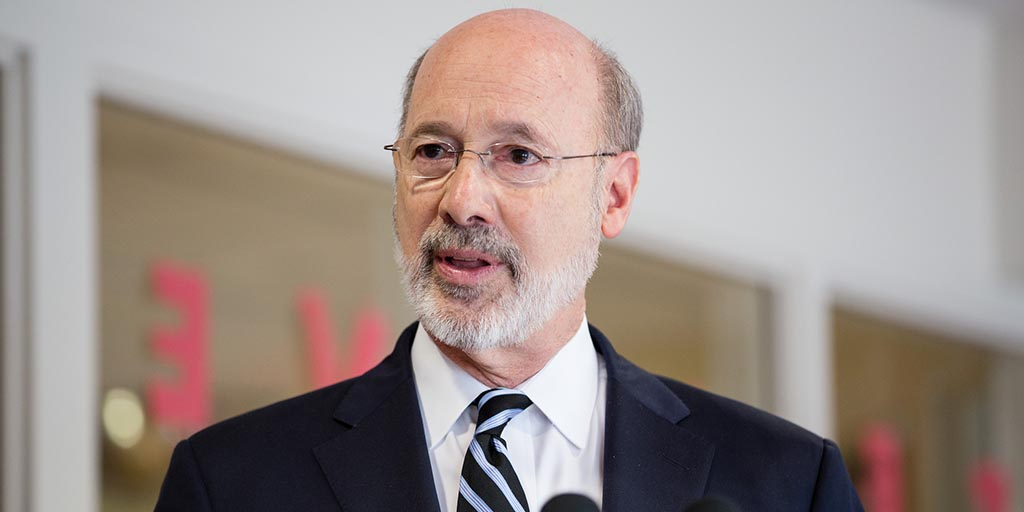 Close up image of Governor Tom Wolf speaking.