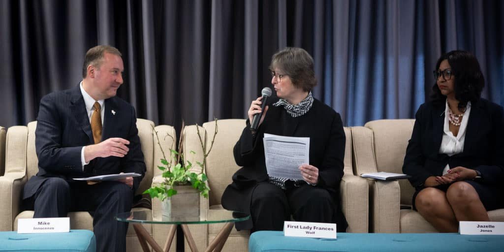 Image of First Lady Frances Wolf participating in a panel discussion.