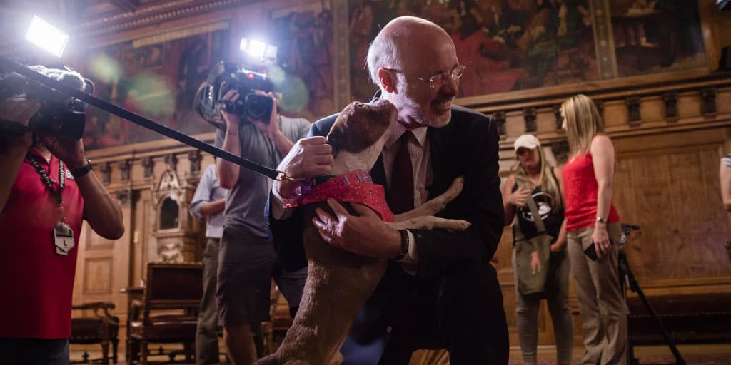 Image of Governor Tom Wolf interacting with Libre.