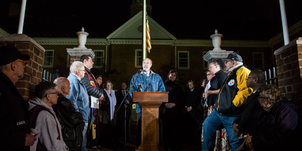 Image of Governor Tom Wolf providing remarks during a vigil in York.