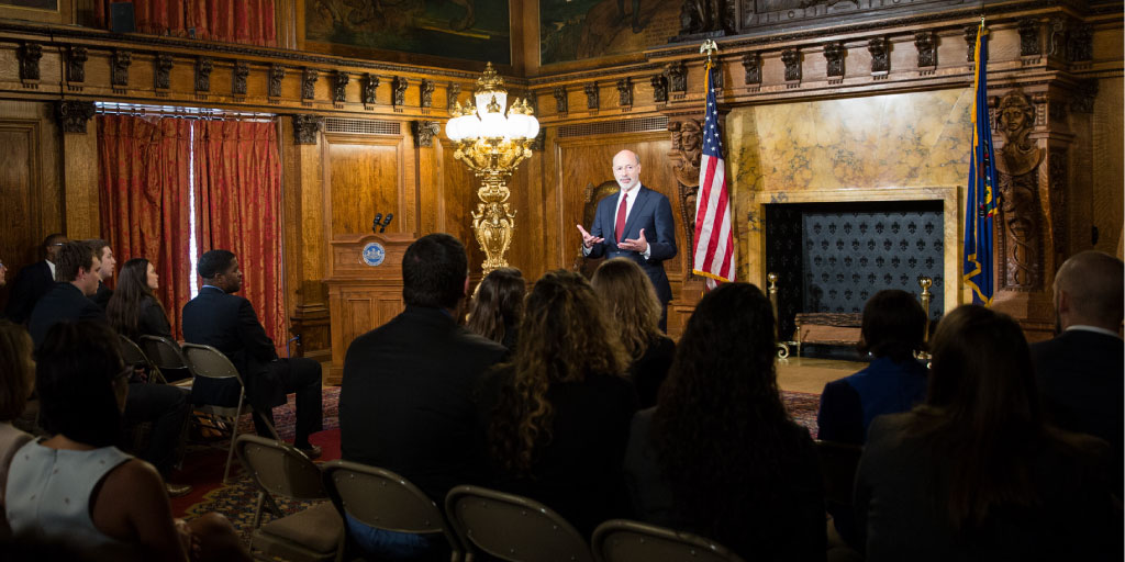 Image of Governor Tom Wolf speaking to a group of people.