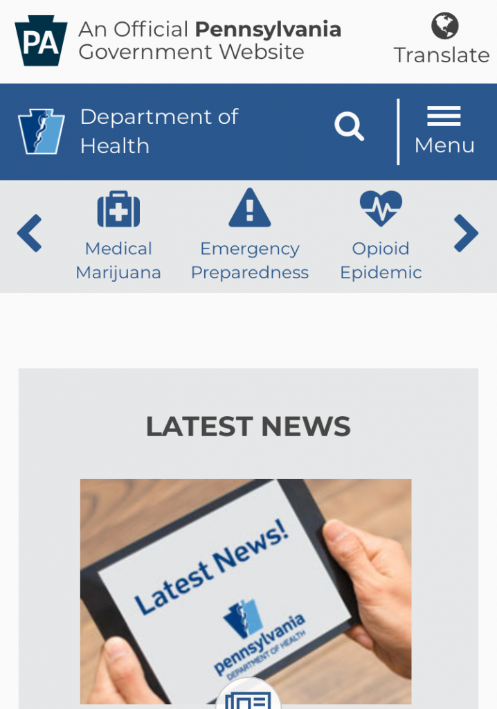 Mobile screenshot of the Pennsylvania Department of Health homepage