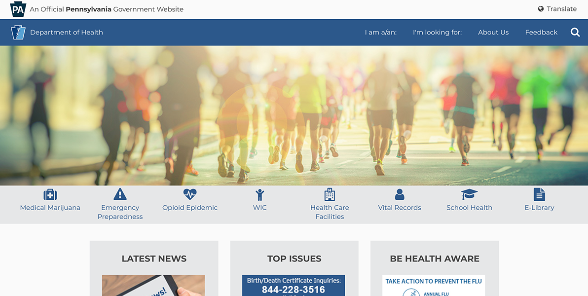 Screenshot of the Pennsylvania Department of Health homepage