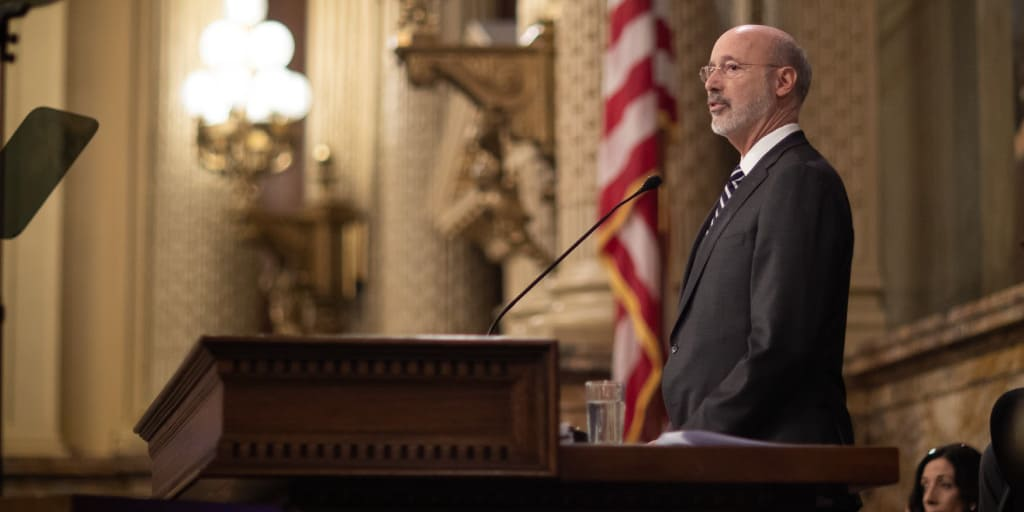 Governor Tom Wolf speaking to the general assembly at his 2019 budget address.