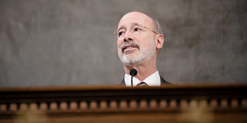 Governor Tom Wolf speaking at the 2019-20 budget address.