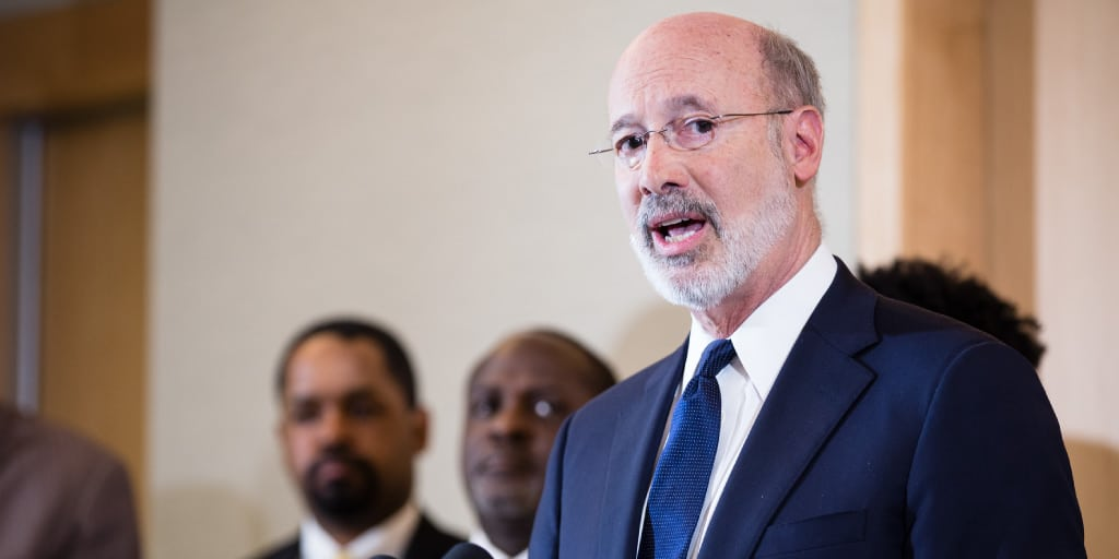 Governor Tom Wolf speaking at a criminal justice reform event,