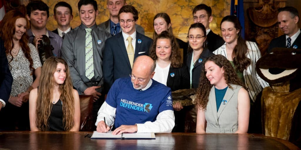 Governor Tom Wolf signing a bill.