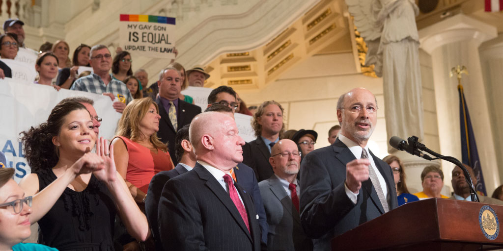 Governor Tom Wolf at a nondiscrimination rally